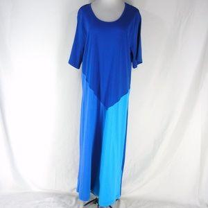 ULLA POPKEN Colorblock Cotton Knit Maxi Dress 1X